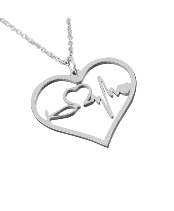 Nurse Gifts EKG Heartbeat Necklace - Looks amazing - Choose Gold- Rose Gold and Silver - Silver - C112OB8BRDR