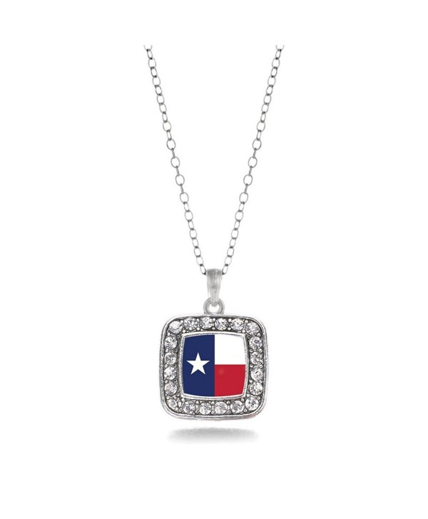 Inspired Silver Texas Flag Square Charm Necklace - C811V7TA5I1