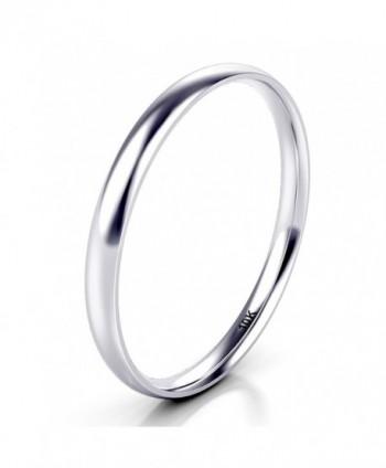 10K White/Yellow/Rose Gold 2MM Plain Dome Wedding Band Ring - white-gold - CS189K520EG