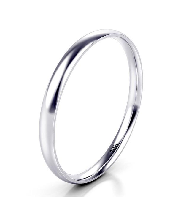 3bf22ef0c0d9e 10K White/Yellow/Rose Gold 2MM Plain Dome Wedding Band Ring - white-gold -  CS189K520EG