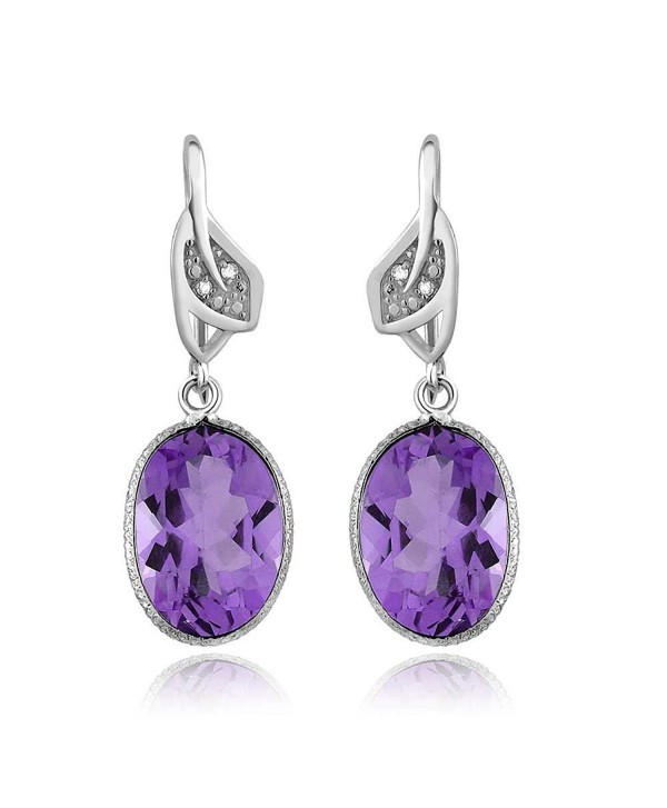 10.00 Ctw Amethyst and White Diamond Oval Shape 925 Sterling Silver Earrings - CT128XUEGUP