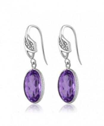 Amethyst Diamond Sterling Silver Earrings