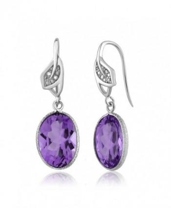 Amethyst Diamond Sterling Silver Earrings in Women's Drop & Dangle Earrings
