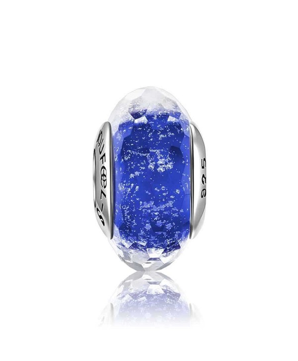SOUFEEL Ice Crystal Faceted Glass Bead 925 Sterling Silver Fit European Bracelets Gift - Dark Blue - CR12EUS0B5N