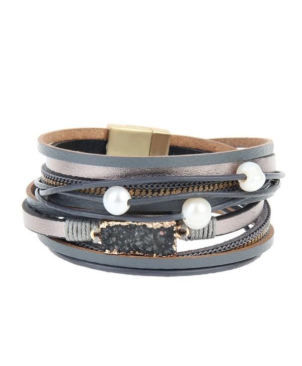 Grey Women Leather Wrap Bracelet - Grey Cuff Bangle - CI189SMRRQ7