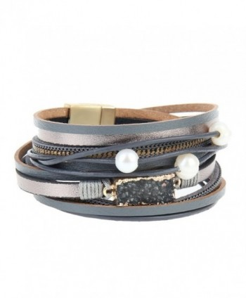 Grey Women Leather Wrap Bracelet