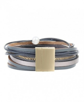 Grey Women Leather Wrap Bracelet in Women's Wrap Bracelets