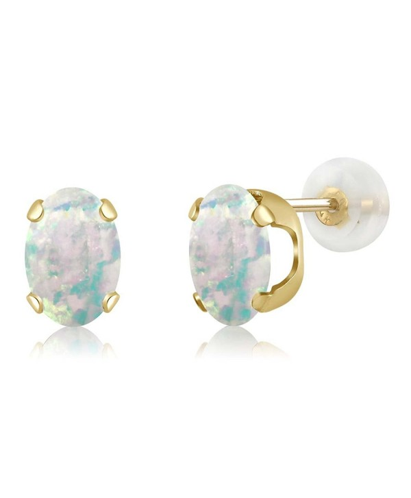 1.26 Ct Oval Cabochon 7x5mm White Simulated Opal 14K Yellow Gold Stud Earrings - C3118TYX913