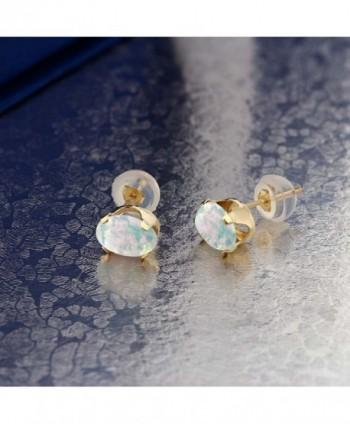 Cabochon 7x5mm Simulated Yellow Earrings in Women's Stud Earrings