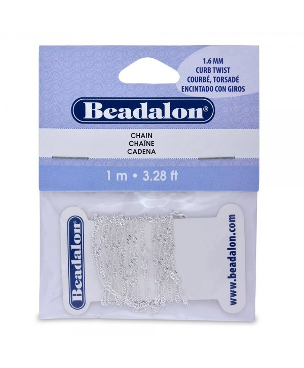 Beadalon 340B032 Curb Twist Chain- 1.6mm 3.28-Feet/Pkg- Silver - CS114AZG3IZ