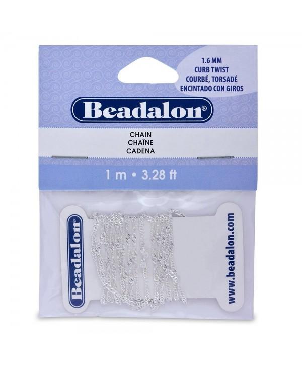 Beadalon 340B032 Curb Twist Chain- 1.6mm 3.28-Feet/Pkg- Silver - CS114AZG3IZ