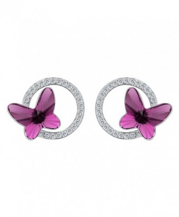 EleQueen 925 Sterling Silver CZ Butterfly Circle Stud Earrings Made with Swarovski Crystals - Earrings_Purple - CF187GNHXXS