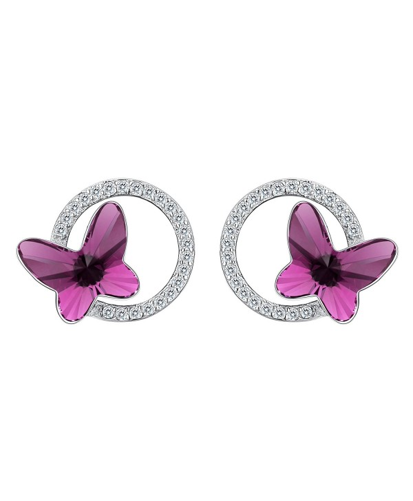 where to buy look good shoes sale separation shoes 925 Sterling Silver CZ Butterfly Circle Stud Earrings Made with Swarovski  Crystals - Earrings_Purple - CF187GNHXXS