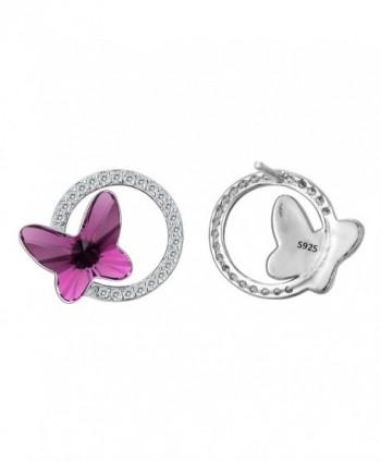 EleQueen Sterling Butterfly Earrings Swarovski in Women's Stud Earrings