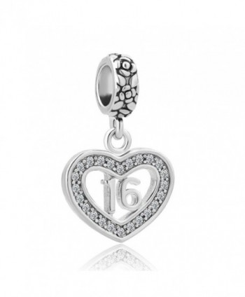 Third Time Charm Heart Sweet 16 Charm Happy Birthday Beads Fits European Charm Bracelet - CN12NZ0GWTU