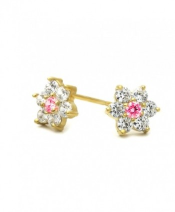 14K Gold Plated Brass CZ Set Small Cluster Flower Screwback Stud Earrings - C01171SPQ05