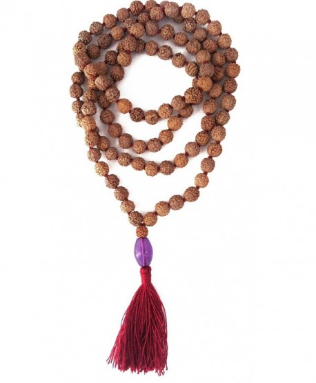 Rudraksha 8mm with Amethyst Pendant 108 Prayer Bead Mala (Amethyst Pendant) - CK11FJSTXVH