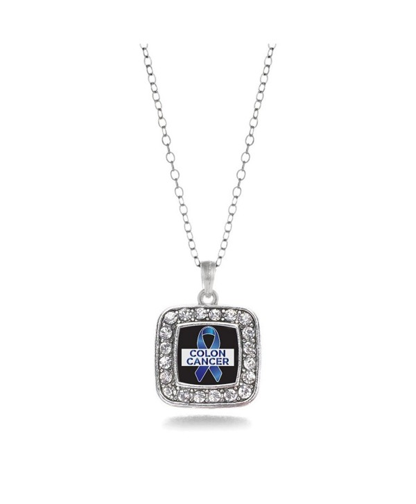 Colon Cancer Awareness Classic Silver Plated Square Crystal Necklace - CQ11KEPG6O7