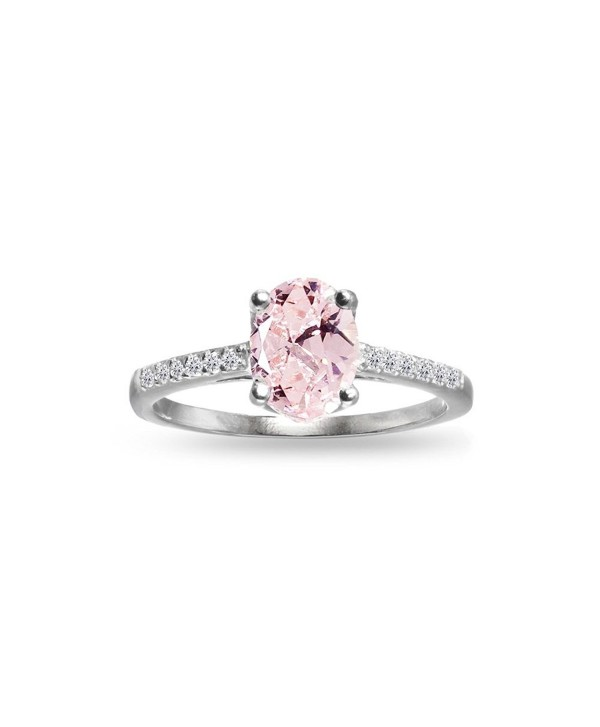 Sterling Silver Simulated Morganite and White Topaz Oval Crown Ring - C31852AHML3