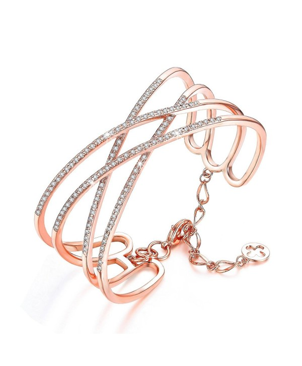SPILOVE Serend Charm Cubic Zirconia Criss Cross Wide Cuff Bangle Bracelet in 18k Rose Gold Plated Women Jewelry - C212MFBKRQ5
