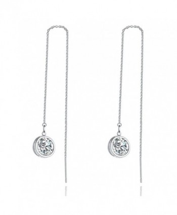 Cubic Zirconia Dangle Earring- LicLiz Threader Drop Earrings with 3D Sparkling CZ and Long Drop Chain - CI187I49AAI