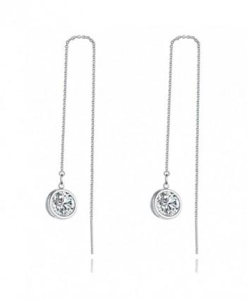 Cubic Zirconia Dangle Earring- LicLiz Threader Drop Earrings with 3D Sparkling CZ and Long Drop Chain - CI187I49AAI
