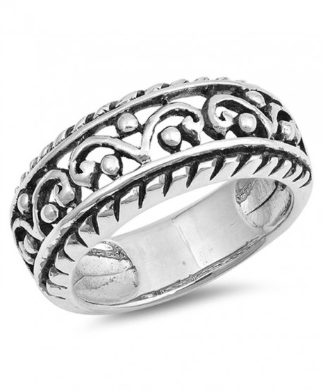 Wide Filigree Crown King Bead Statement Ring 925 Sterling Silver Band Sizes 6-10 - CQ12OC2ECR4