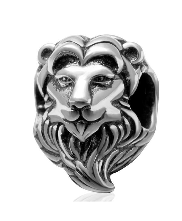 "925 Sterling Silver ""Lion Head"" Charm Bead 3222 - CJ1297E93NV"