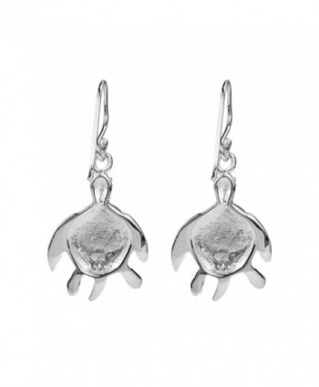 Turtle Triquetra Finish Sterling Earrings in Women's Drop & Dangle Earrings