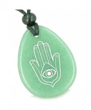 Amulet Magic Hamsa Hand and Evil Eye Reflection Green Quartz Pendant Necklace - CO11BZQ3XX1