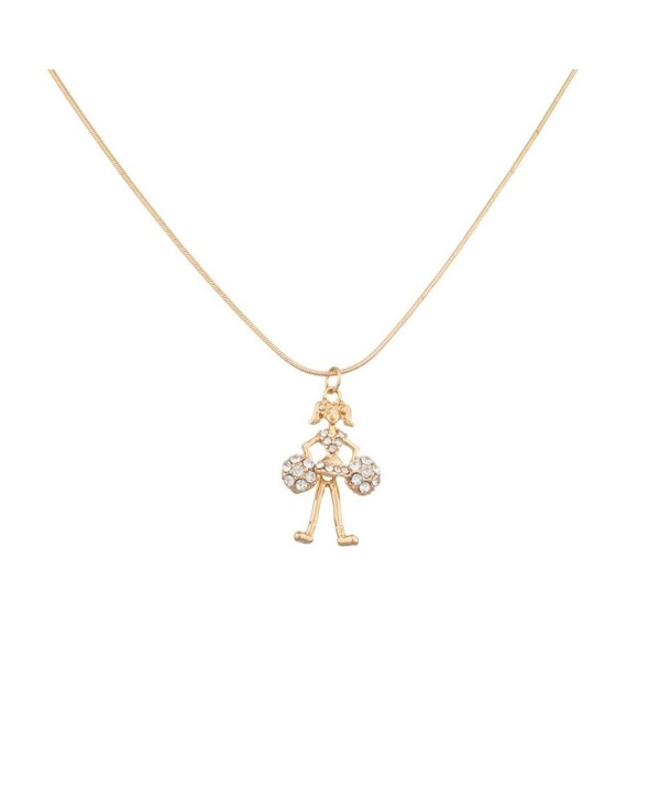 Lux Accessories Cheerleader Pom Pom Cheer Pave Pendant Necklace - C811R6HZPAB