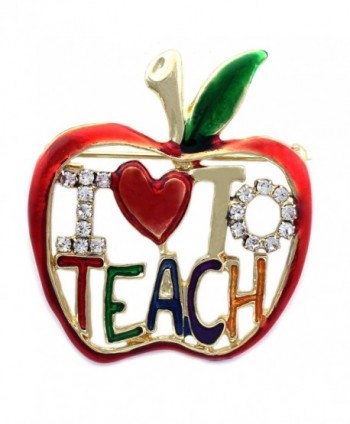 cocojewelry I LOVE To TEACH Apple Brooch Pin Necklace Pendant Gift for Teachers - C011Q7WOYM7