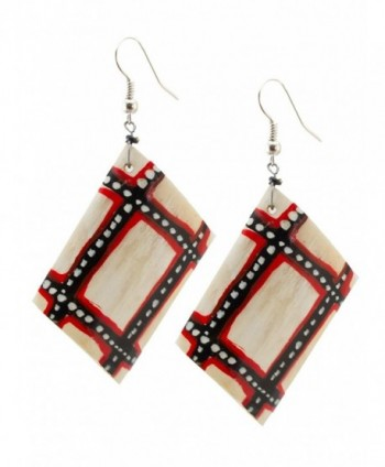 Maisha Beautiful African Fair Trade Up cycled Bovine Hand painted Horn Earrings - CM11C1HKOKN