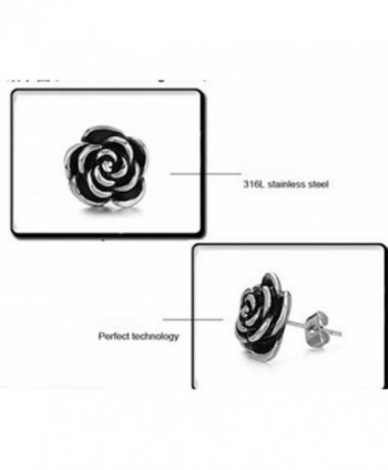 Casoty Jewelry Sterling Silver Rose Flower Stud earrings Stainless Steel Jewelry earrings - C211QYN0RB1