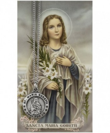Saint Maria Goretti 3/4-inch Pewter Medal Pendant Necklace with Holy Card - CY117J9IEMN