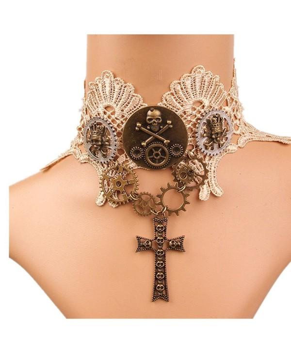 Meiysh Lolita Goth Punk Wedding Party Black Steam Punk Gear Choker Necklace - C0184WR6Y5T