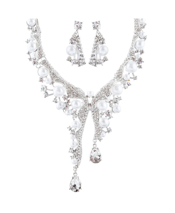 ACCESSORIESFOREVER Bridal Wedding Prom Jewelry Set Crystal Pearl Chunky Duo Linear Drops Silver White - CC11CVXDH0B