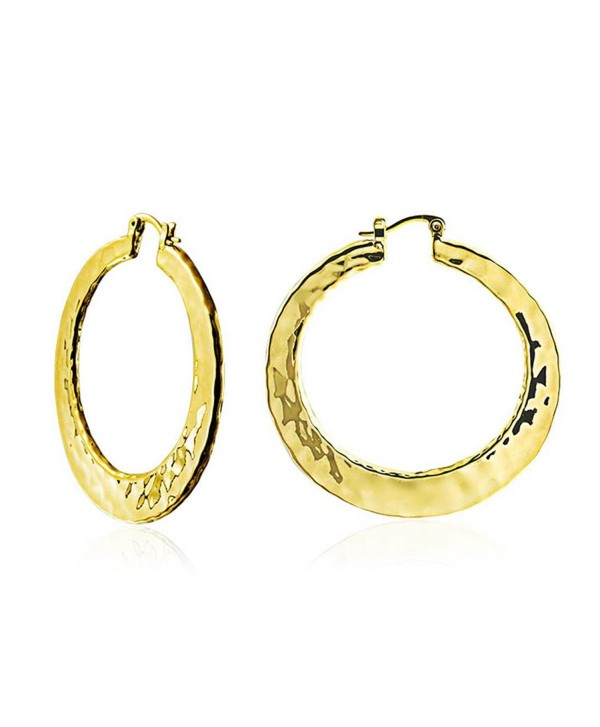 Bling Jewelry High Polished Gold Plated Brass Large Hammered Hoop Earrings 2in - C611CZFTEW5