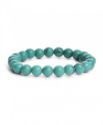 iSTONE Gemstone Bracelets Natural Gemstones Birthstone Handmade Healing Power Crystal Beads 7.5'' - Turquoise - CC1840W7EMO