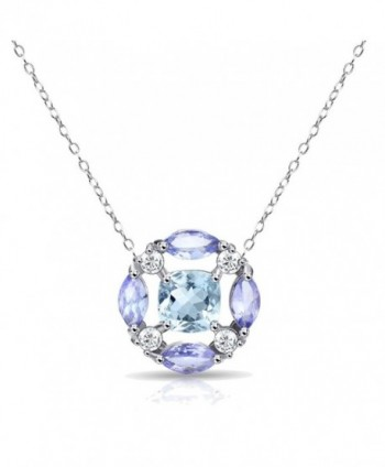 Sterling Silver Simulated or Genuine Gemstones Necklace with White Topaz Accents - Blue Topaz & Amethyst - C0188G29ONK
