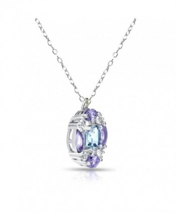 Sterling Silver Amethyst Necklace Accents in Women's Pendants