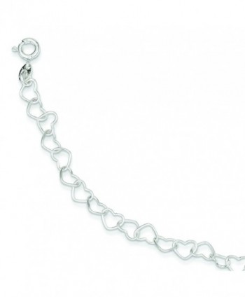 Sterling Silver 7inch Polished Fancy Heart Link Bracelet - CB1157354R1