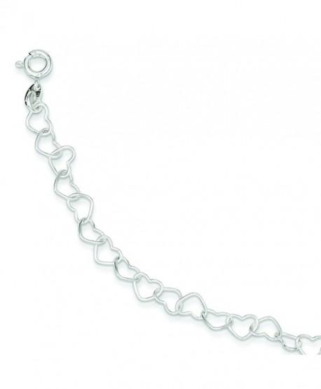 Sterling Silver 7inch Polished Fancy Heart Link Bracelet - CB1157354R1