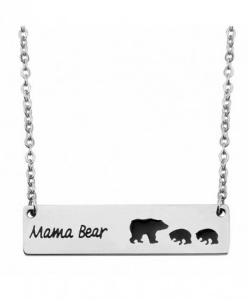 KUIYAI Sweet Family Mama and Baby Bear Necklace Bracelet Bangle Gift for Mothers - bar 2 cubs - CS17Z5QLY0R