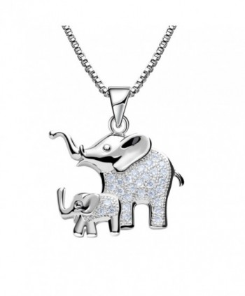 Mom and Baby Elephant Animal Pendant Necklace Platinum Plated Zircon for Woman Girl Jewelry - CY17AAZKGSL