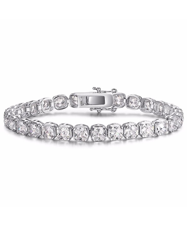 Caperci Silver Cubic Zirconia Tennis Bracelet for Women- 7.25'' - C212BCRUCSL