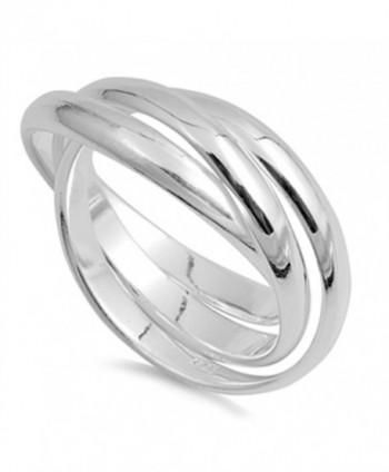 Sterling Silver Plain Russian Wedding Ring Trinity Interlocking Rolling Band 9mm ( Size 4 to 13) - C4118R4VFT3