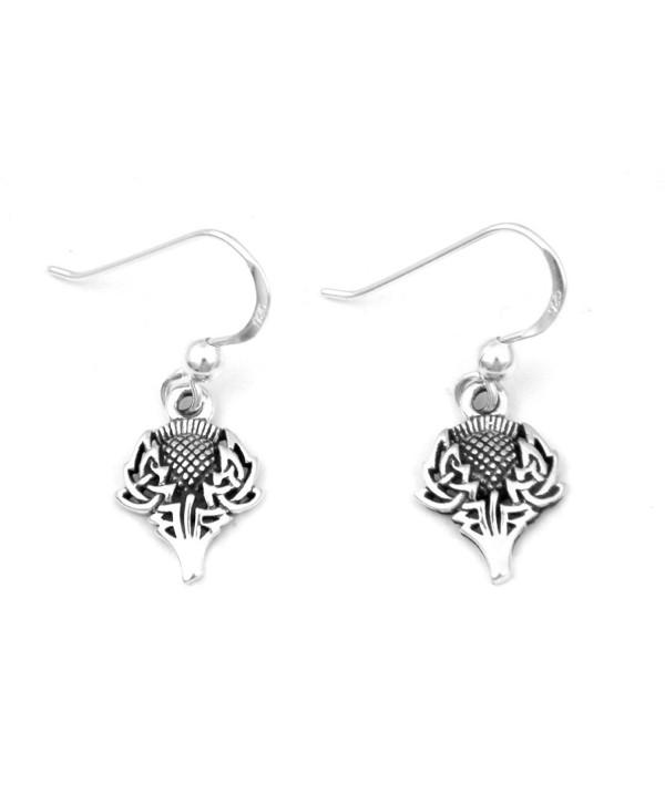 Scottish Spirit of Alba Thistle Celtic Knot Art Sterling Silver Earrings by Courtney Davis - CB1145I1HCF