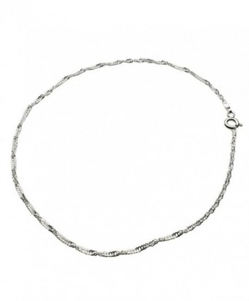 Sterling Silver Singapore Nickel Free Chain Anklet Italy - CT11JKS08CP