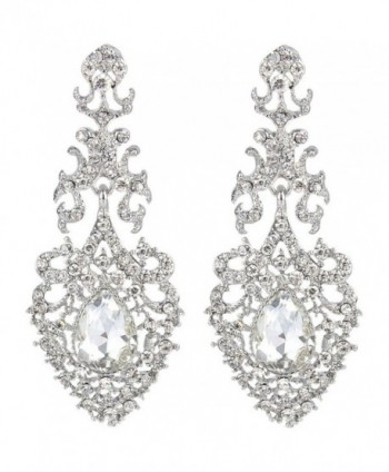 EVER FAITH Austrian Crystal Elegant Lace Hollow-out Tear Drop Chandelier Earrings Silver-Tone - Clear - CE124KPJDF5